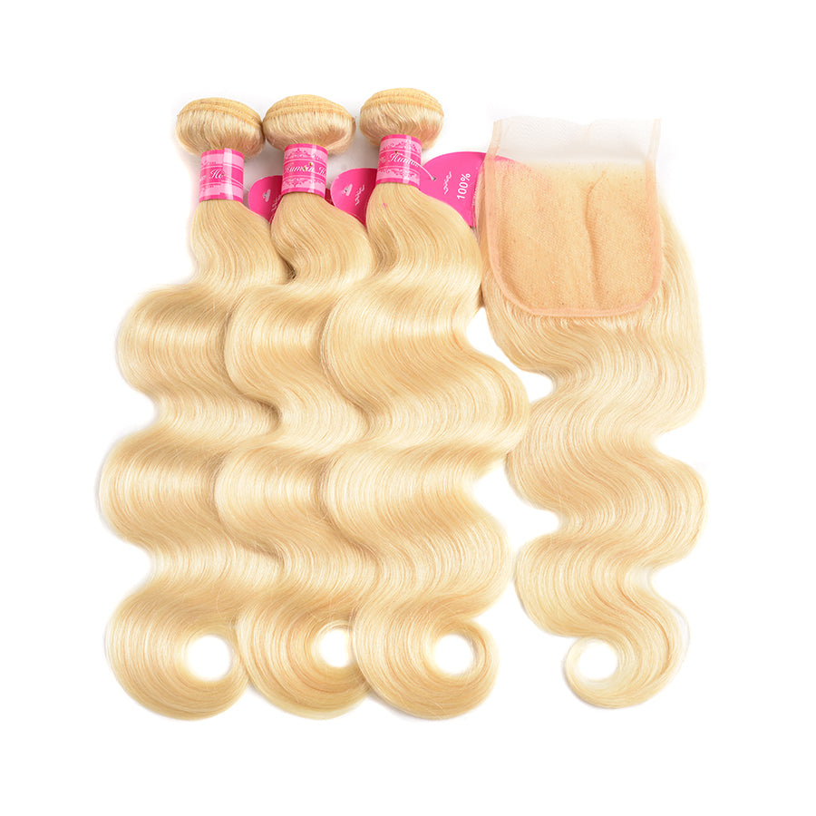 Beaufox Hair Virgin Human Hair 613 Body Wave Blonde 3 Bundles With 4*4 Closure