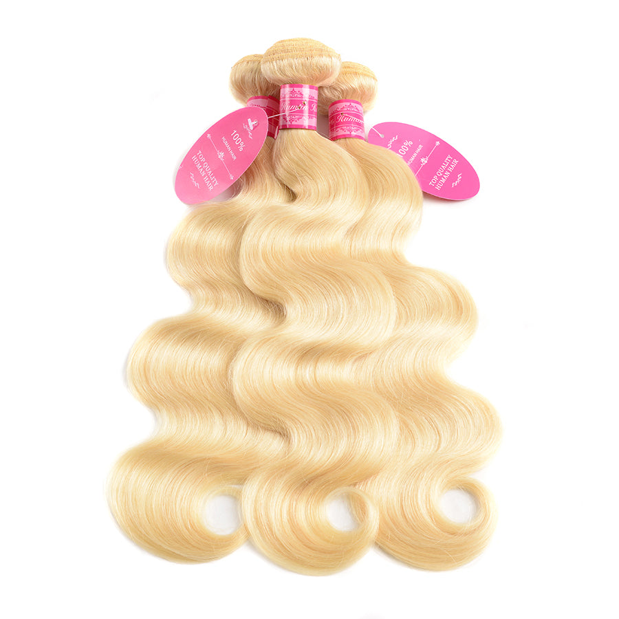 Beaufox Hair Body Wave Blonde Hair Weaves 613 Color 3 Bundles 100% Remy