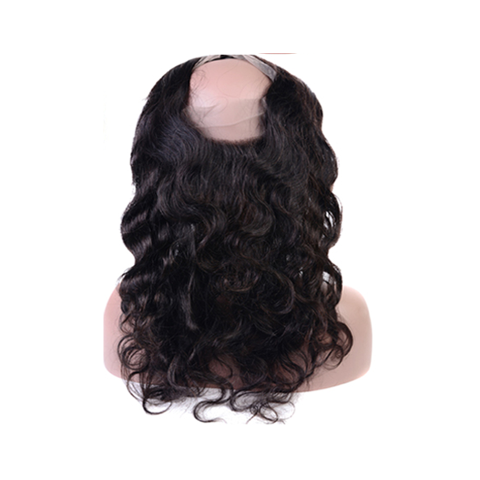 Beaufox Hair Body Wave 360 Lace Frontal  1B Natural Black Human Hair