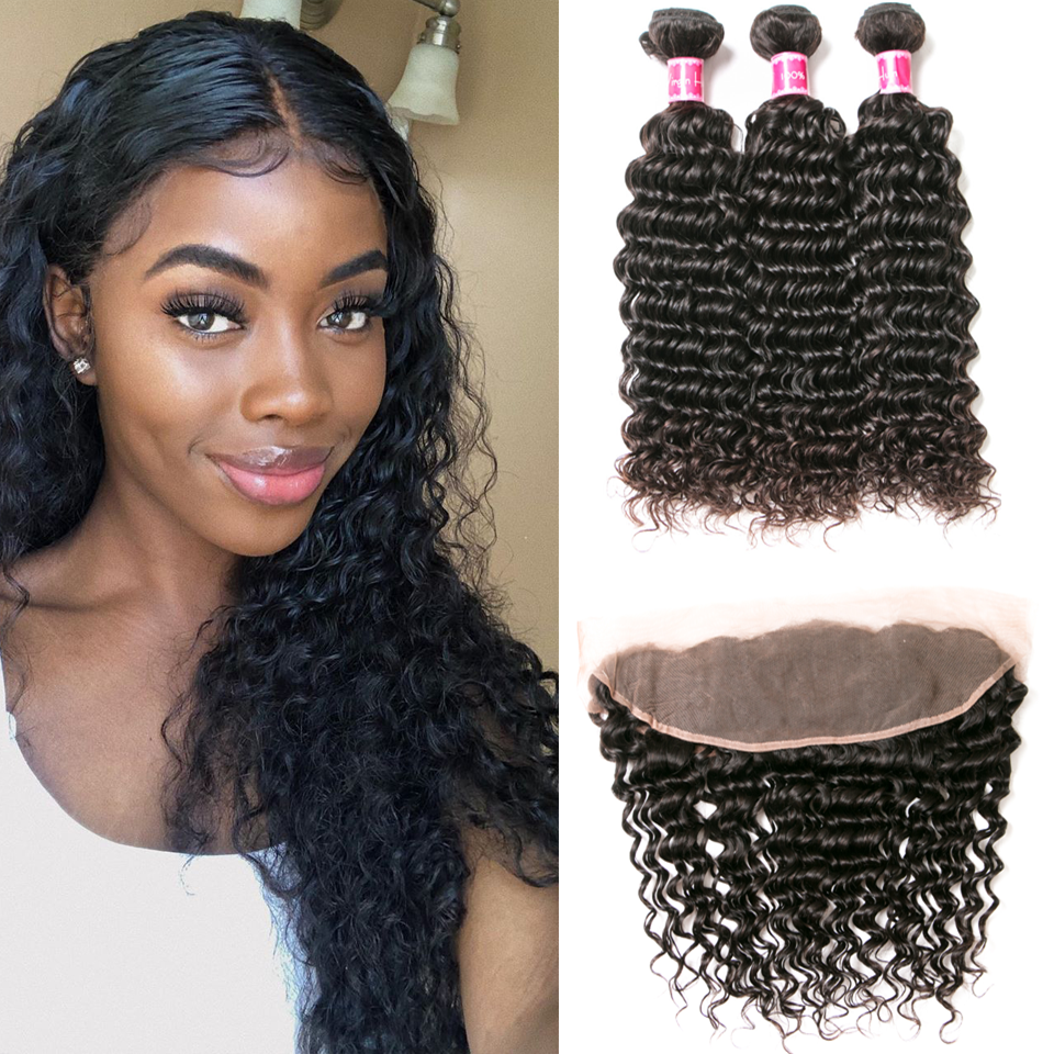Beaufox Hair  Deep Wave 3 Bundles With 13*4 Lace Frontal Hot Sale