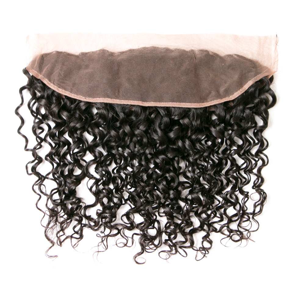 Beaufox Hair Natural Black Water Wave 13*4 Lace Frontal 100% Human Hair