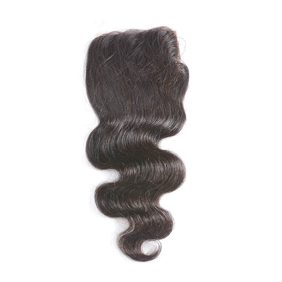 Beaufox Hair Body Wave Human Hair 4*4 Lace Closure  Hair Natural Black