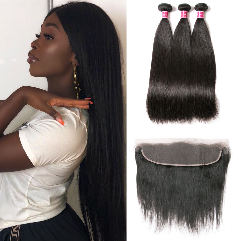 Beaufox Hair Human Hair Straight 3 Bundles With 13*4 Lace Frontal