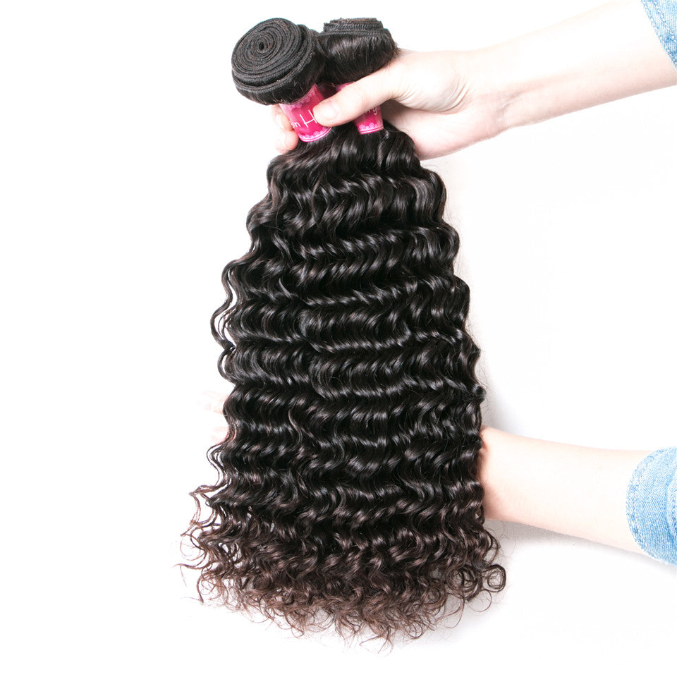 Beaufox Hair Deep Wave 3 Bundles Deep Curly Human Hair Natural Black 300g