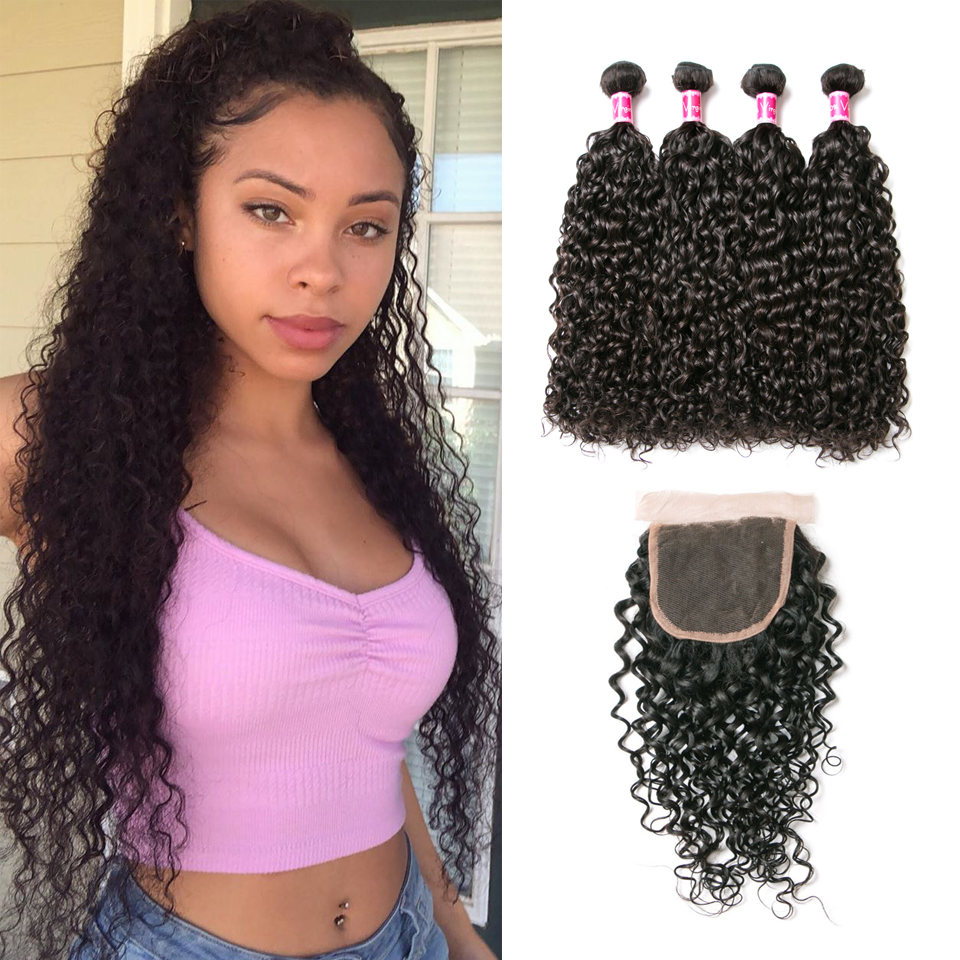 Beaufox Hair  Brazilian Hair Water Wave 4 Bundles With 4*4 Closure Bundles With Closure