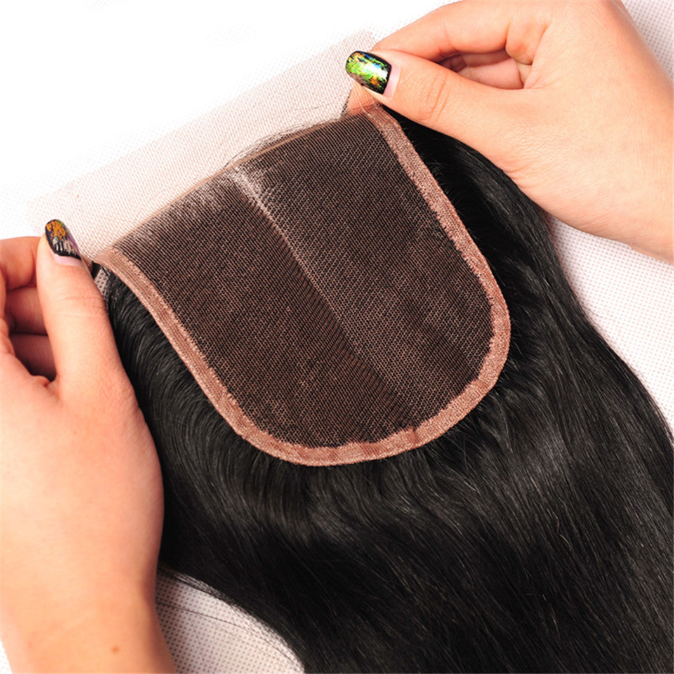Beaufox Hair Human Hair Straight 4*4 Lace Closure Natural Black
