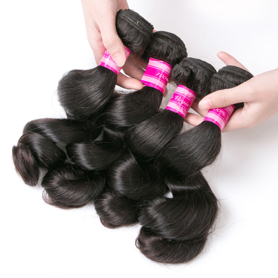 Beaufox Hair Loose Wave 4 Bundles 100% Human Hair Bundles Natural Color