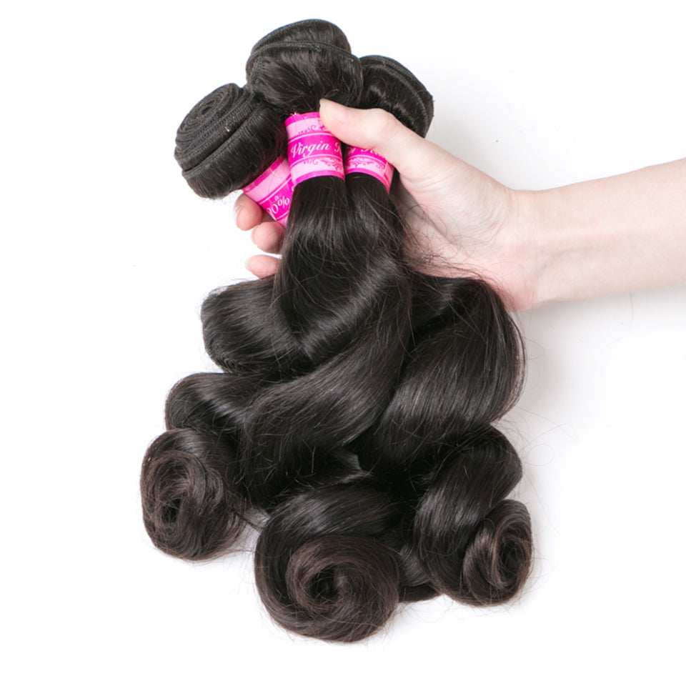 Beaufox Hair Loose  Wave Bundles Natural Black 3 Bundles With 4*4 Closure