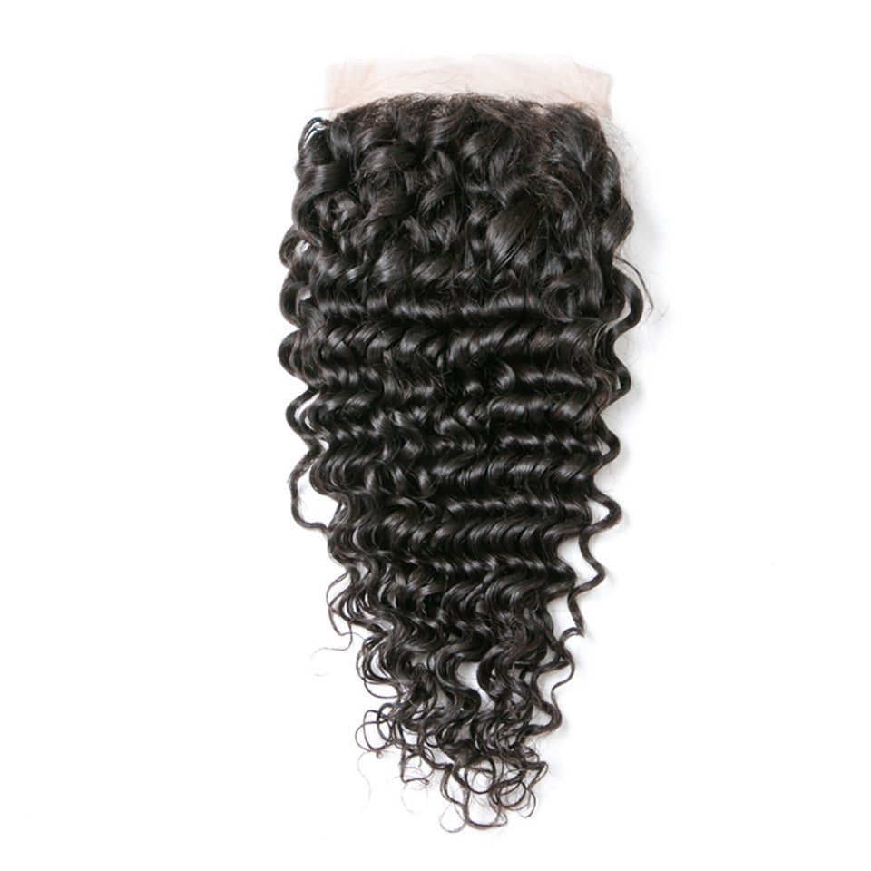 Beaufox Hair Deep Wave Human Hair 4*4 Lace Closure  Hair Natural Black