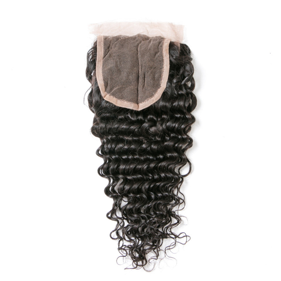 Beaufox Hair Deep Wave Human Hair 4*4 Lace Closure Natural Black