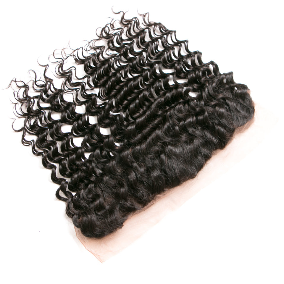 Beaufox Hair Natural Black Human Hair Deep Wave 13*4 Lace Frontal