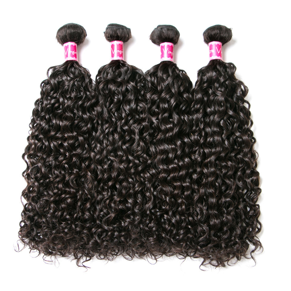 Beaufox Hair Virgin Human Hair Water  Weave 4 Bundles With 13*4 Lace Frontal