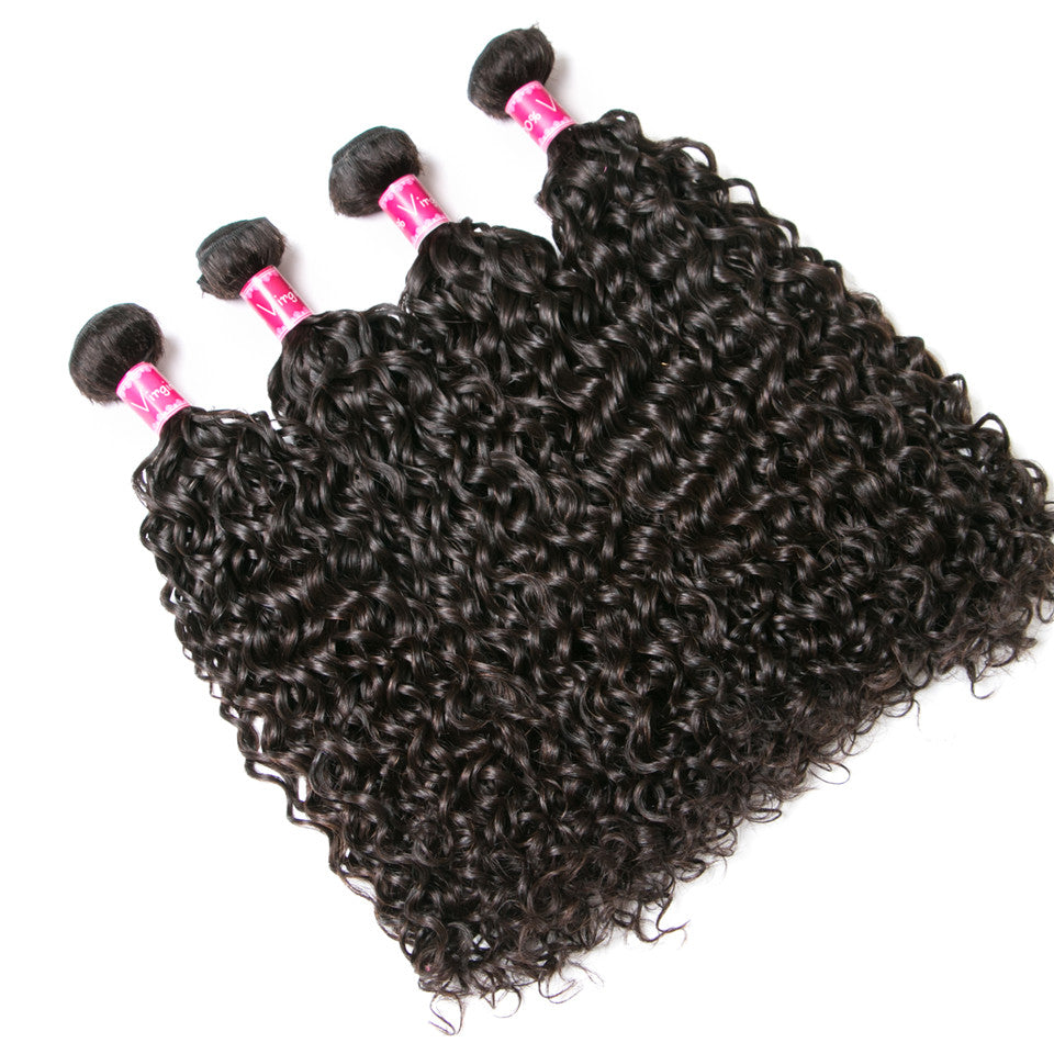 Beaufox Hair  Water wave Brazilian Hair 100% Human Hair 4 Bundles  Natural Color