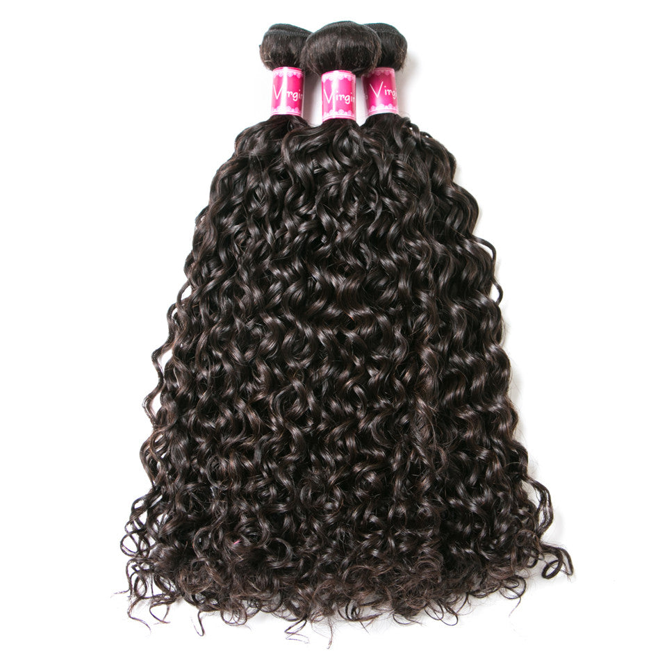 Beaufox Hair Water Wave Natural Black 3 Bundles Extension With 4*4 Closure