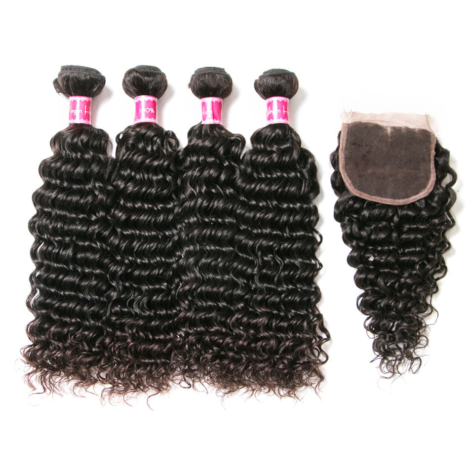 Beaufox Hair  Brazilian Hair  Deep Wave 4 Bundles With 4*4 closure  Remy Hair