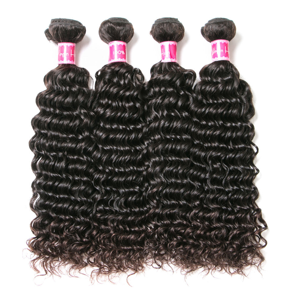 Beaufox Hair Deep Wave 4 Bundles With 360 Lace Frontal 100% Human Hair