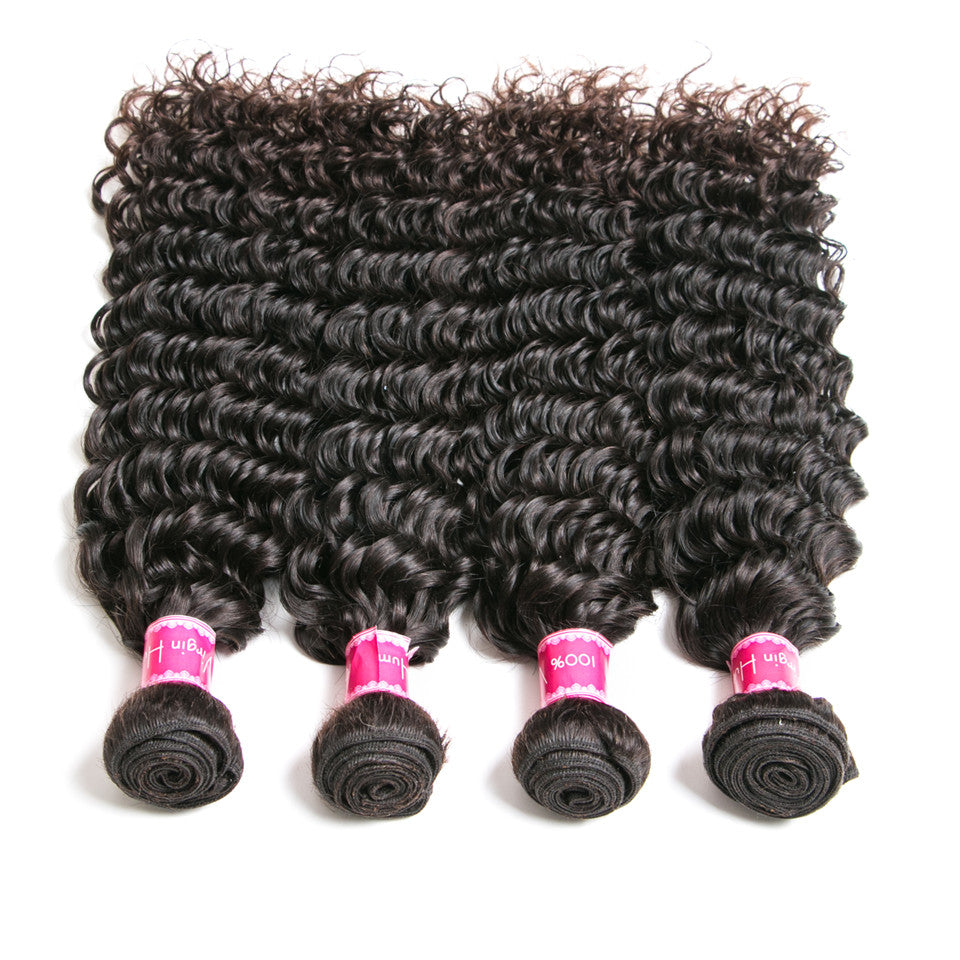 Beaufox Hair Deep Wave Curly 4 Bundles With 13*4 Lace Frontal Human Hair