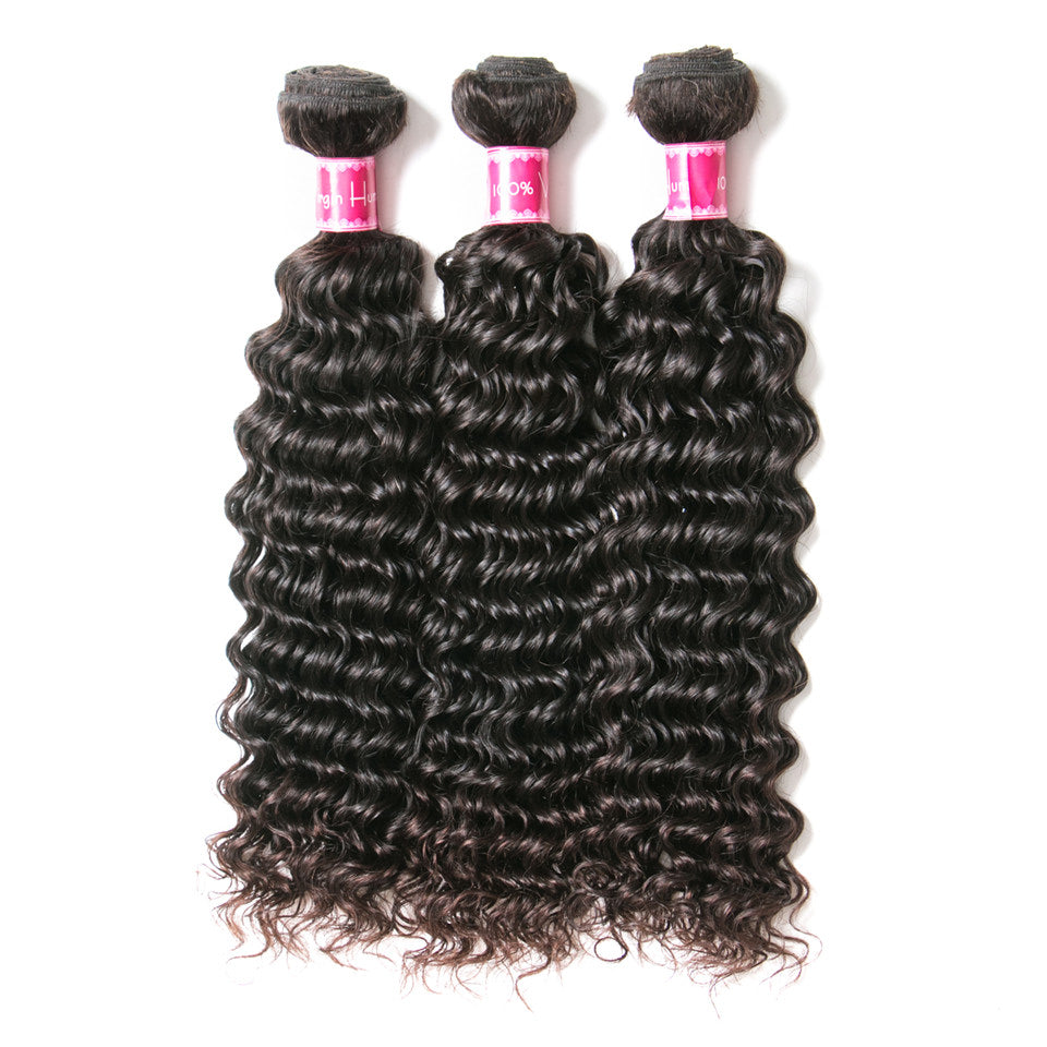 Beaufox Hair Deep Wave 3 Bundles With 13*4 Lace Frontal Virgin Hair