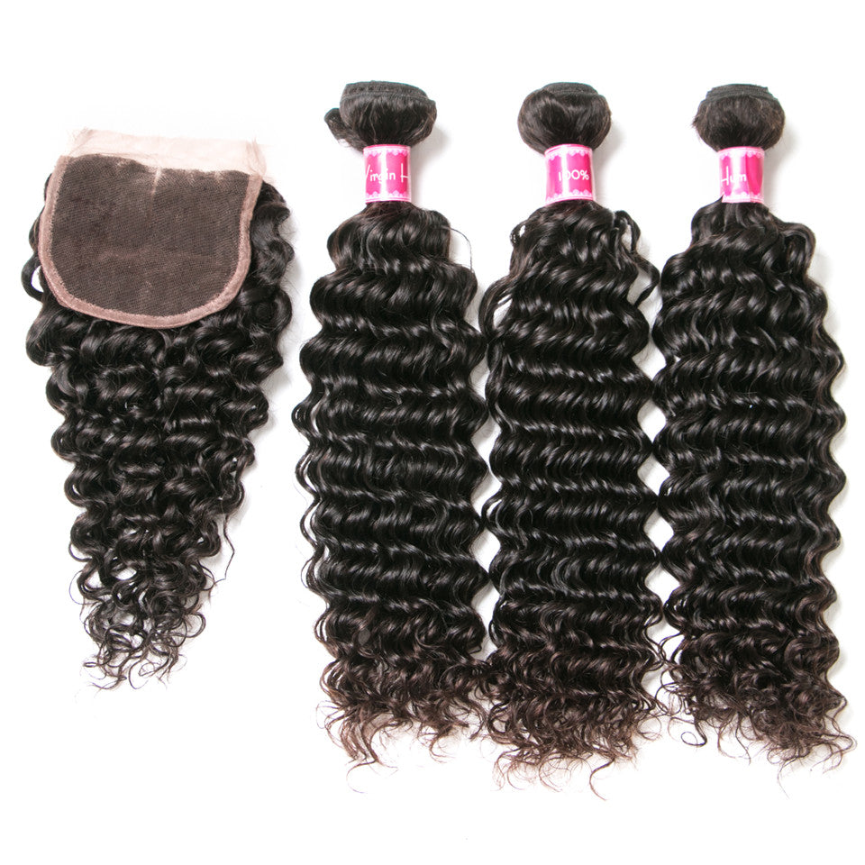 Beaufox Hair Deep Wave Human Hair 3 Bundles With Closure
