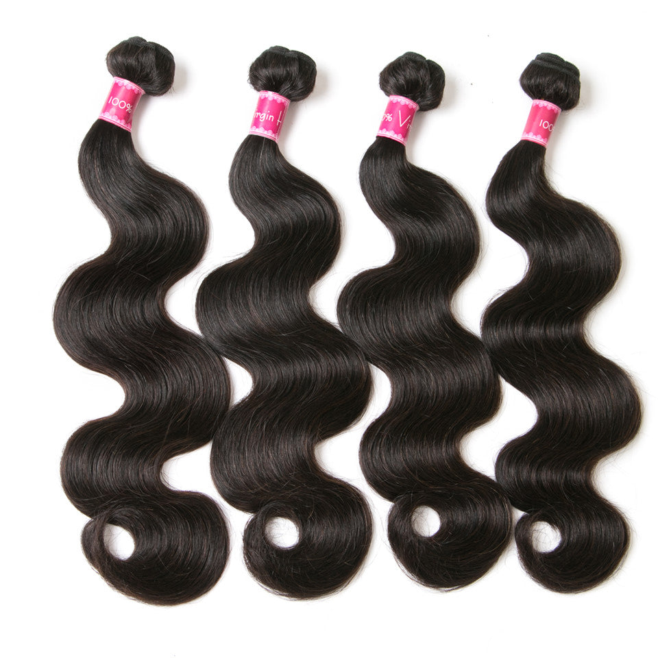 Beaufox Hair Indian Hair Body Wave  4 Bundles Natural Color extensions