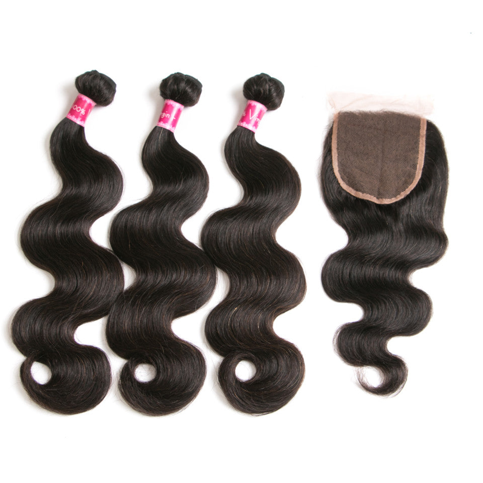 Beaufox Hair Body Wave 3 Bundles With 4*4 Closure Human Hair