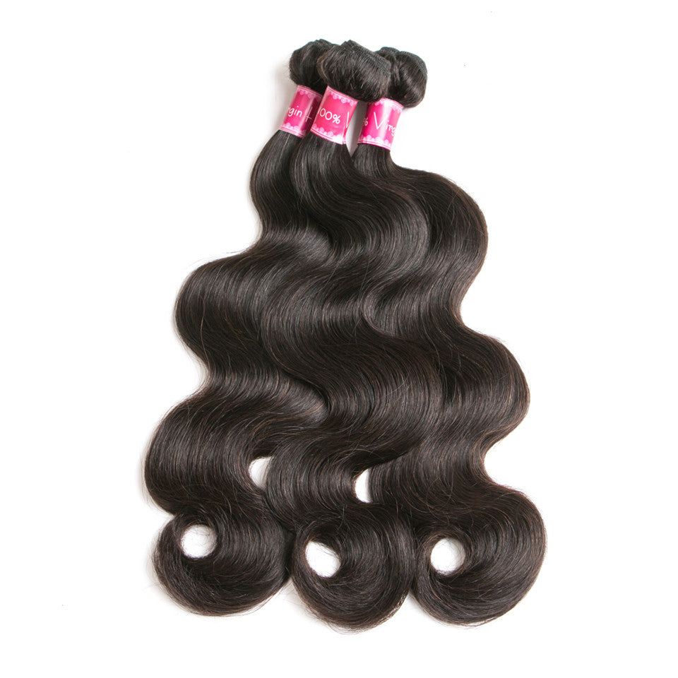 Beaufox Hair  Body Wave 3 Bundles With 13*4 Lace Frontal Virgin Human Hair