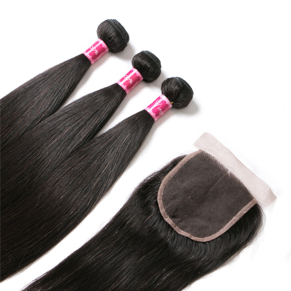 Beaufox Hair Straight Virgin Hair 3 Bundles With 4*4 Closure Natural Black