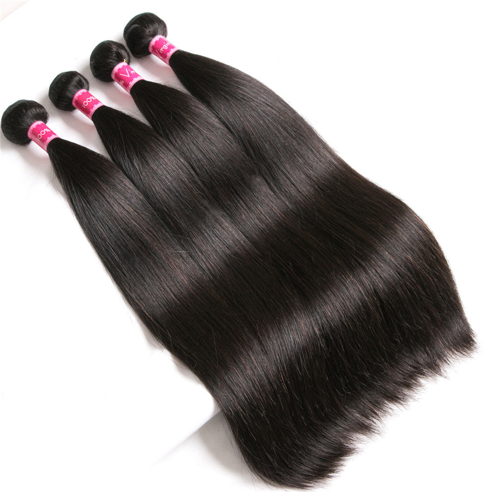 Beaufox Hair Straight Natural Black 4 Bundles With  13*4 Lace Frontal
