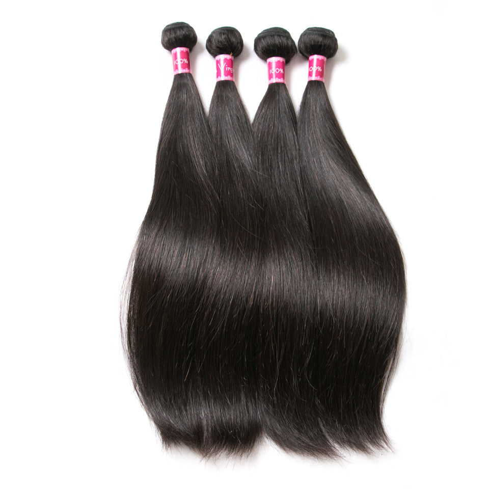 Beaufox Hair  Brazilian Hair Straight Wave 4 Bundles With 4*4 Closure Hot Sale