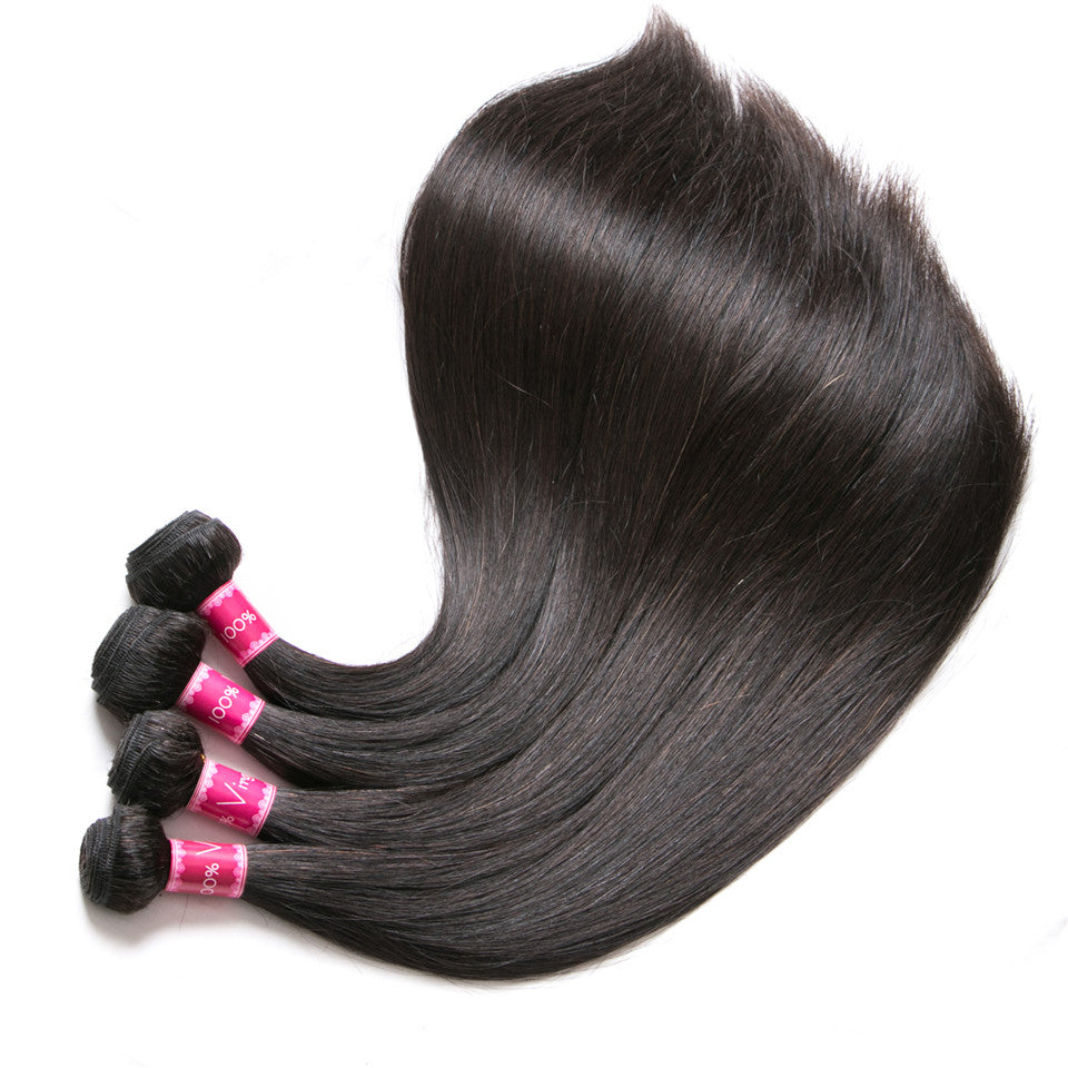 Beaufox Hair Human Hair Straight 4 Bundles With 4*4 Lace Closure