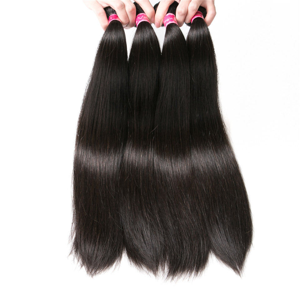 Beaufox Hair Straight 100% Human Hair 4 Bundles Natural Color Hot Sale