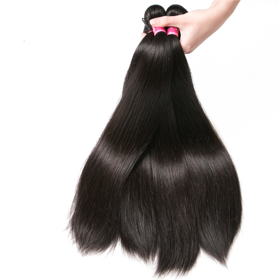 Beaufox Hair Straight 3 Bundles 100% Virgin Human Hair Natural Black