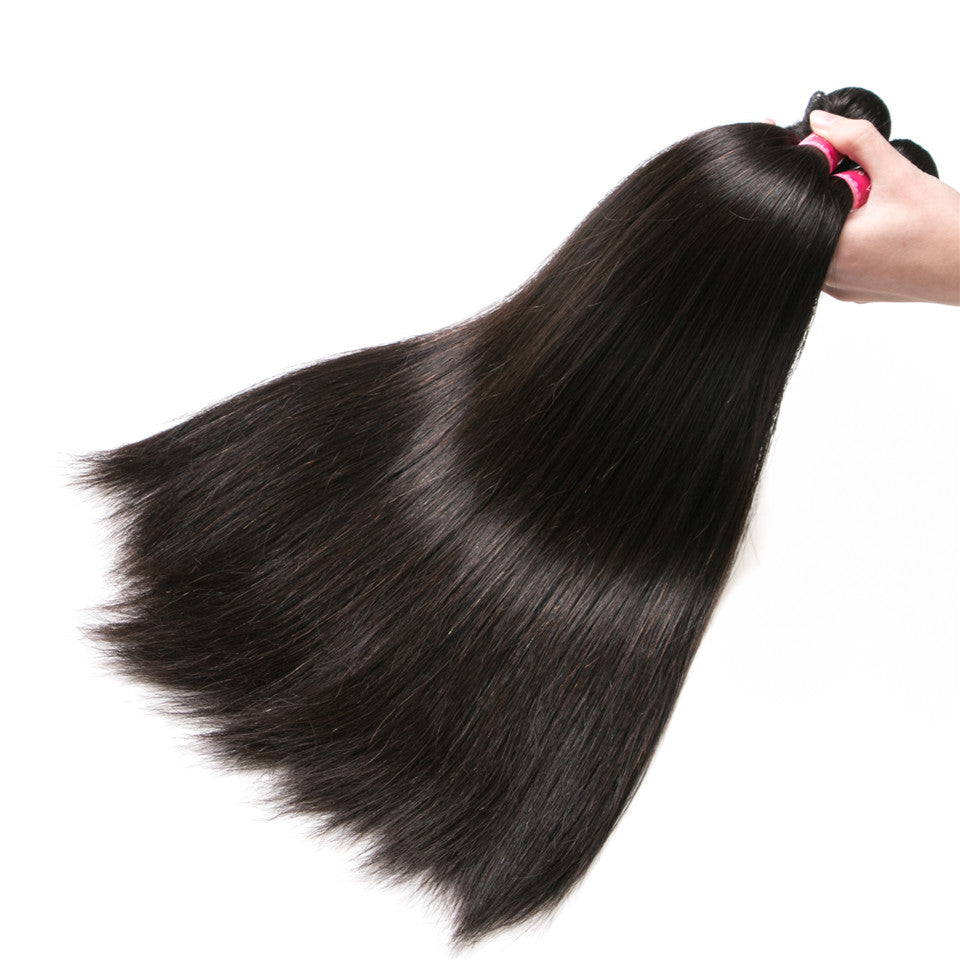 Beaufox Hair Brazilian Hair Straight Wave Human Hair 1 Bundle Virgin Hair 8-28 inch Natural Color