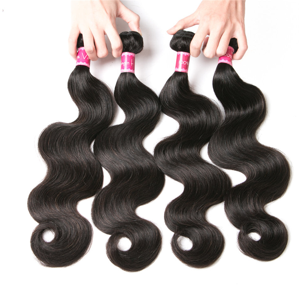 Beaufox Hair Body Wave 4 Bundles With 13*4 Lace Frontal Virgin Human Hair