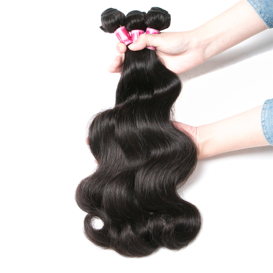 Beaufox Hair Body Wave Hair Weaves 3 Bundles Human Hair Bundles Natural Black