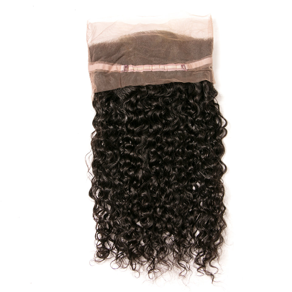 Beaufox Hair Human Virgin Hair Deep Wave 360 Lace Frontal Natural Black
