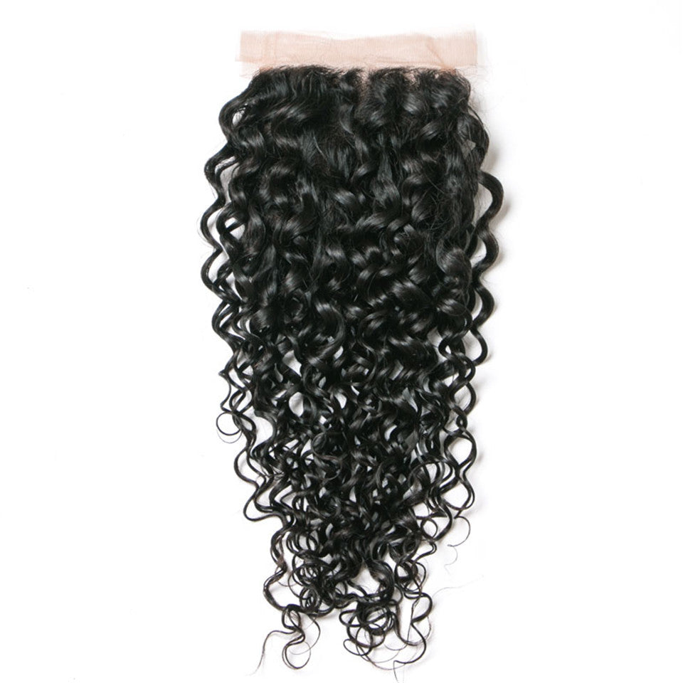 Beaufox Hair Water Wave Human Hair 4*4 Lace Closure Natural Black