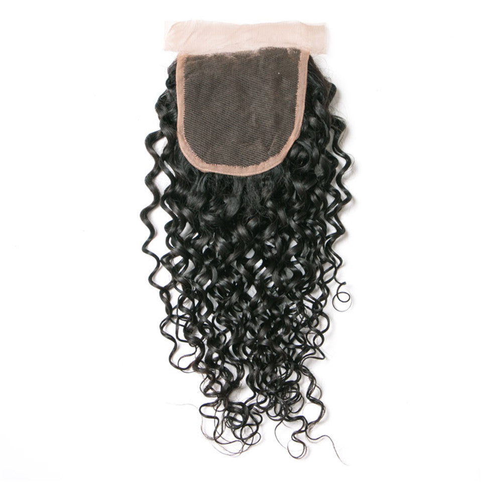 Beaufox Hair Water Wave Human Hair 4*4 Lace Closure Hair Natural Black