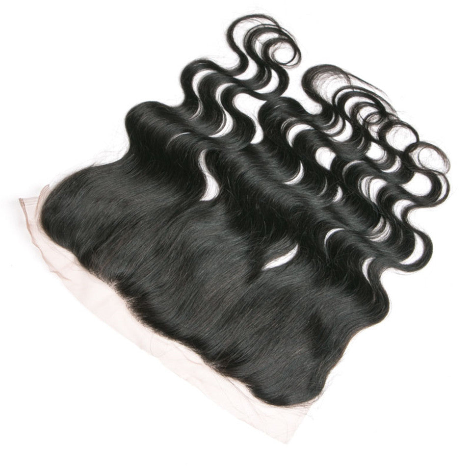 Beaufox Hair Natural Black Human Hair Body Wave 13*4 Lace Frontal