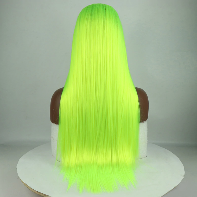 Beaufox Human Hair Green Straight Hair Lace Front Wig 13X4 Wig 150% Density
