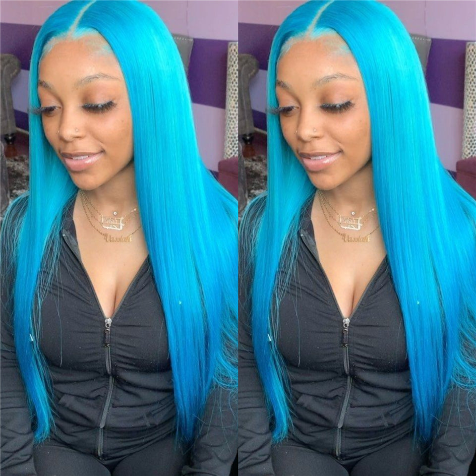 Beaufox Hair 150% Human Hair Straight Lace Front Wig Blue Wig Colorful Hair