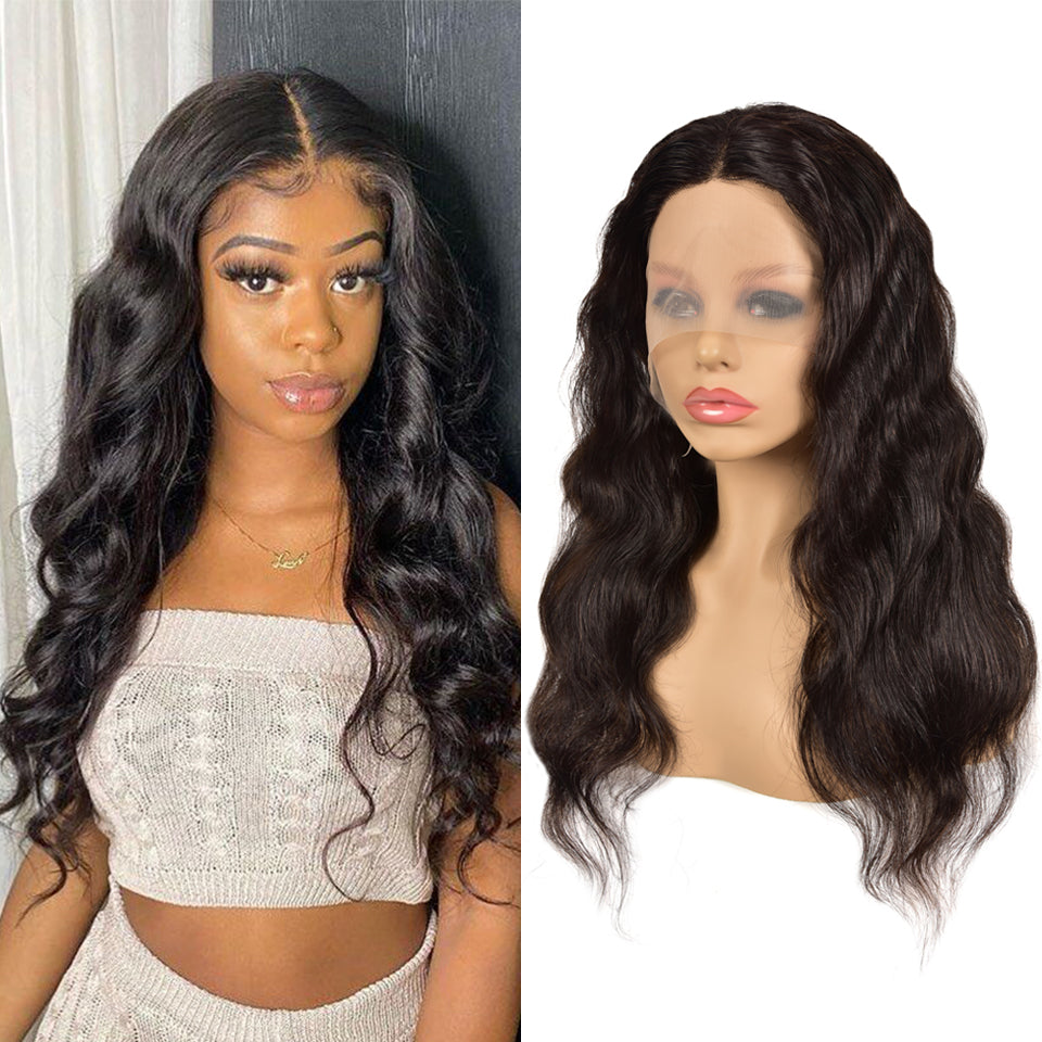 Beaufox Virgin Human Hair Body Wave T Part Lace Front Wig 150% Density Natural Black