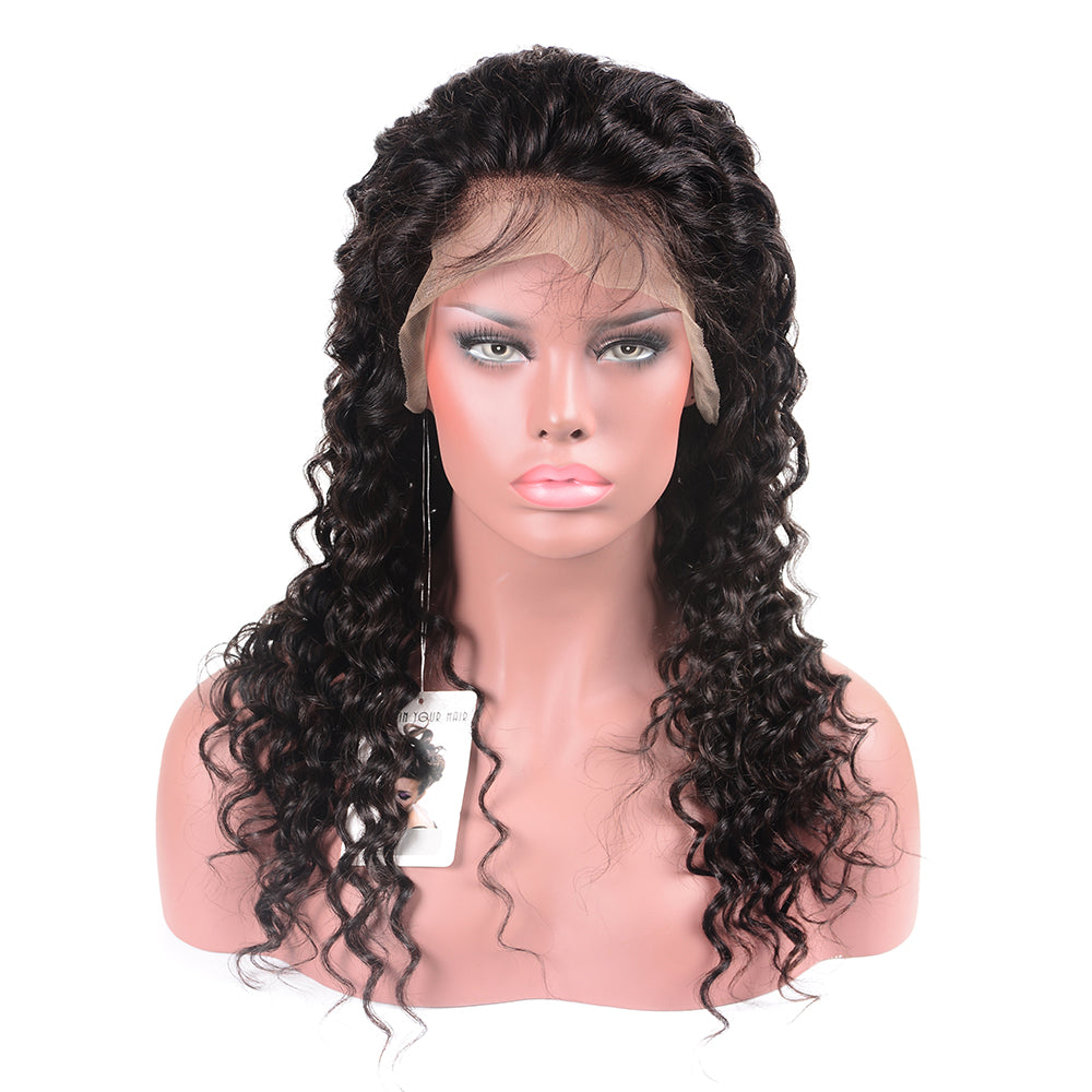 Beaufox Deep Wave 360 Lace Frontal Wig 180% Density,  100% Virgin Human Hair