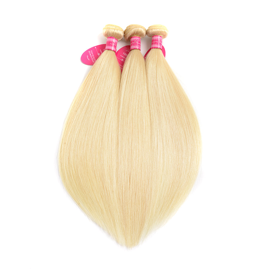 Beaufox Hair 613 Straight Hair Virgin Human Hair Blonde 3 Bundles With 13*4 Frontal