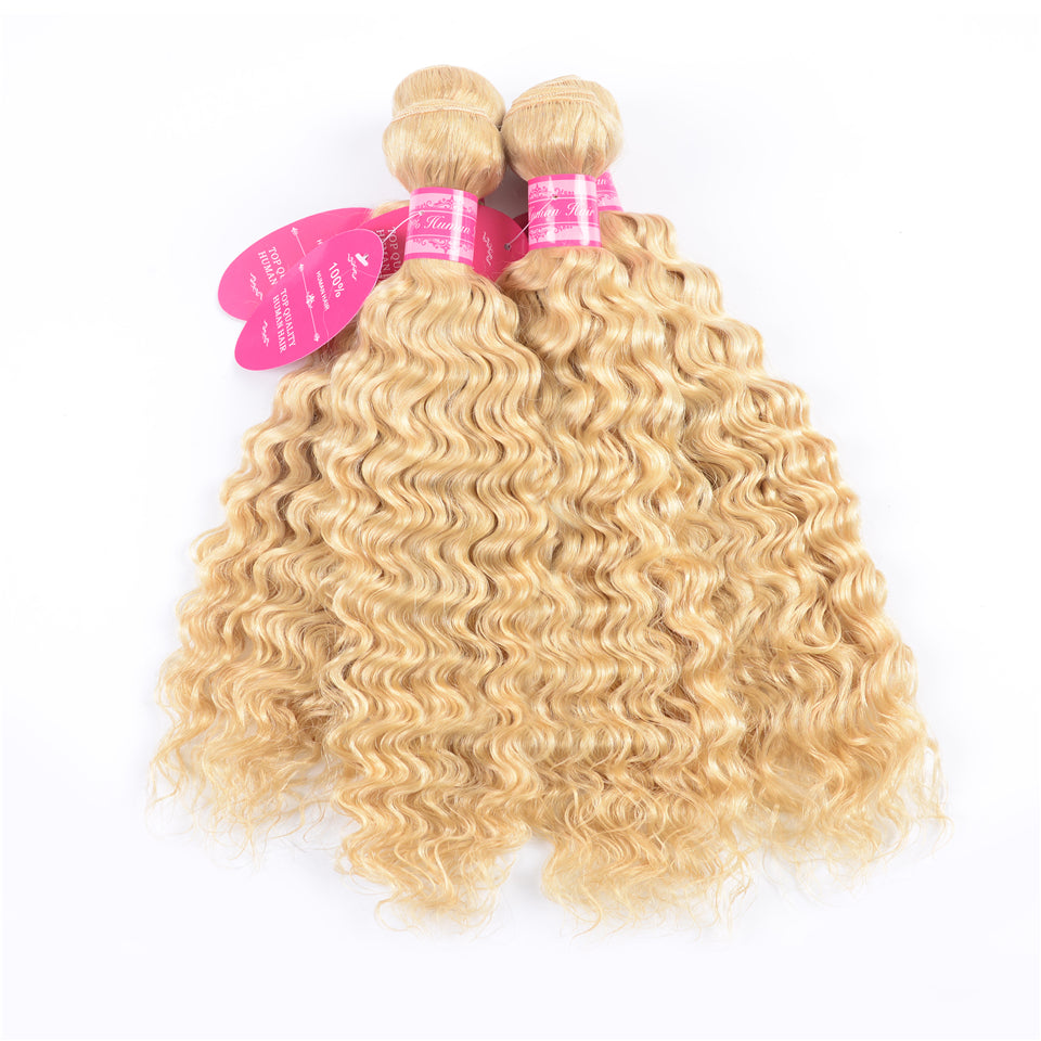 Beaufox hair Virgin Human Hair 4 Bundles  613 blonde Deep Curly bundles