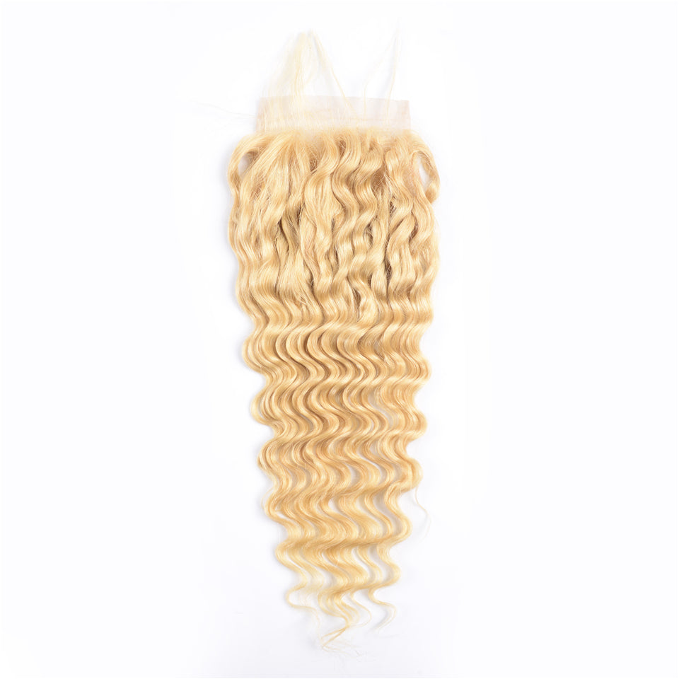 Beaufox Hair Virgin Human Hair 613 Blonde Deep Curly 4*4 Closure