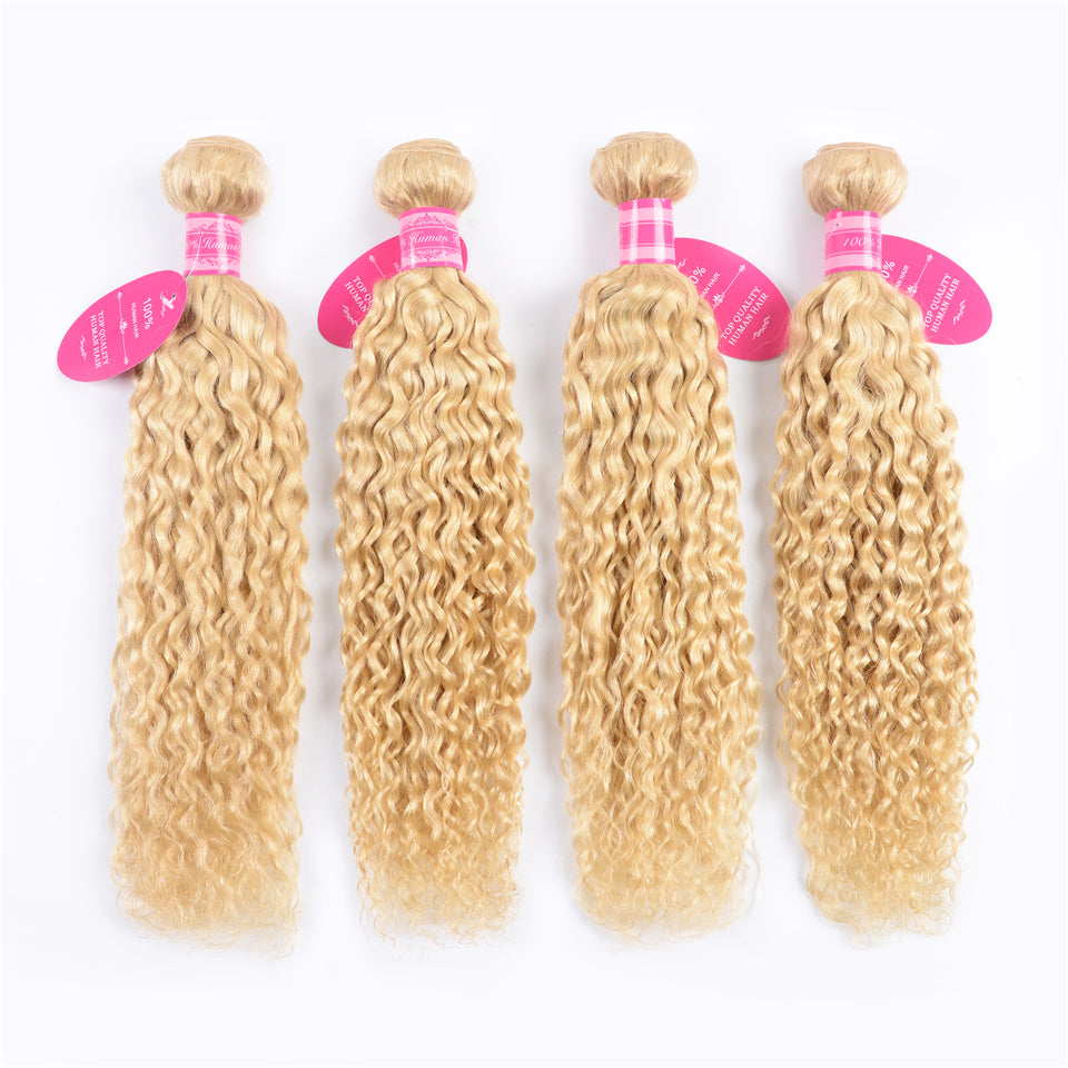 Beaufox Virgin Human Hair Water Wave 613 Blonde 4 Bundles With 13x4 Lace Frontal