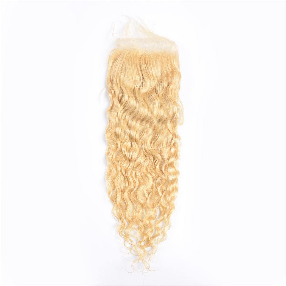 Beaufox Hair Virgin Human Hair 613 Blonde Water Curly 4*4 Closure