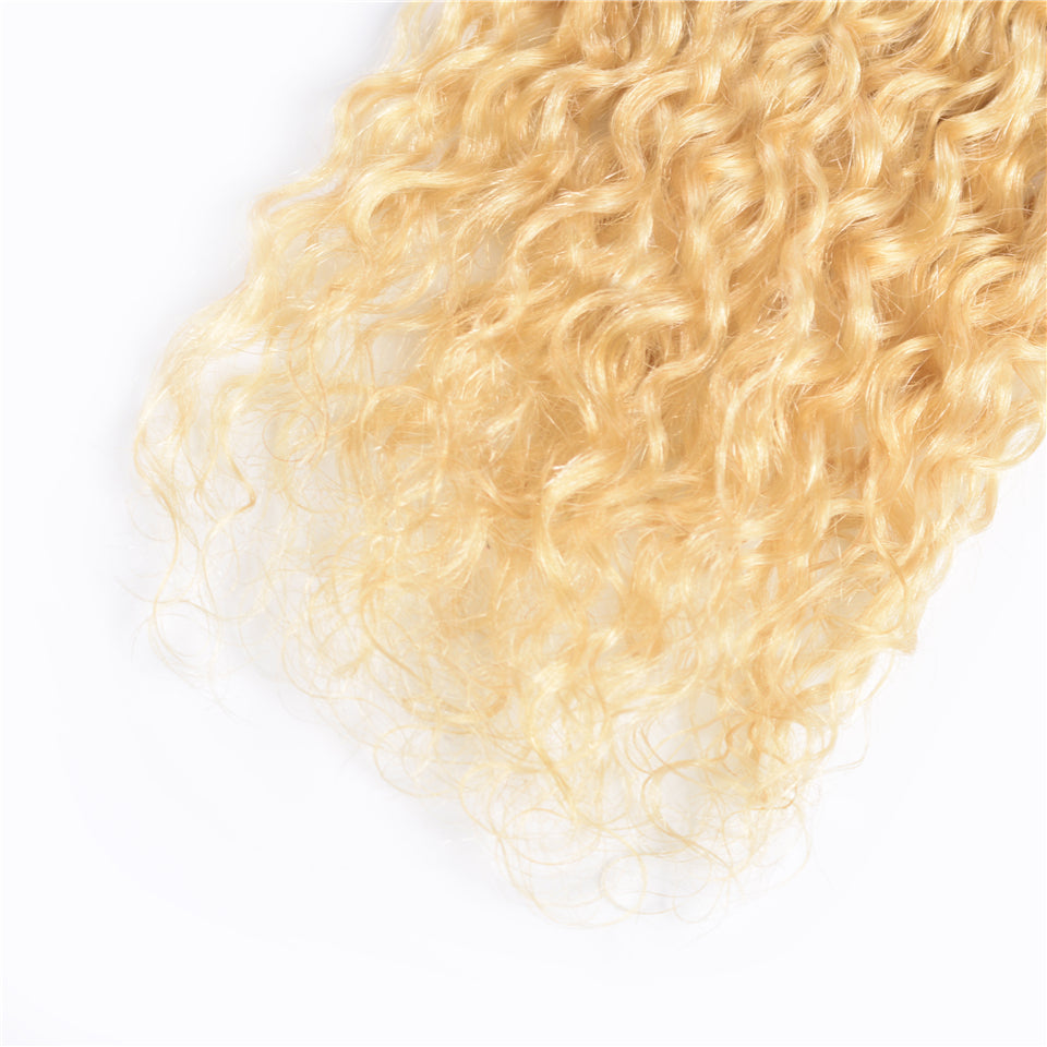 Beaufox Hair Water Curly Blonde Hair Weaves 613 Color 3 Bundles 100% Remy