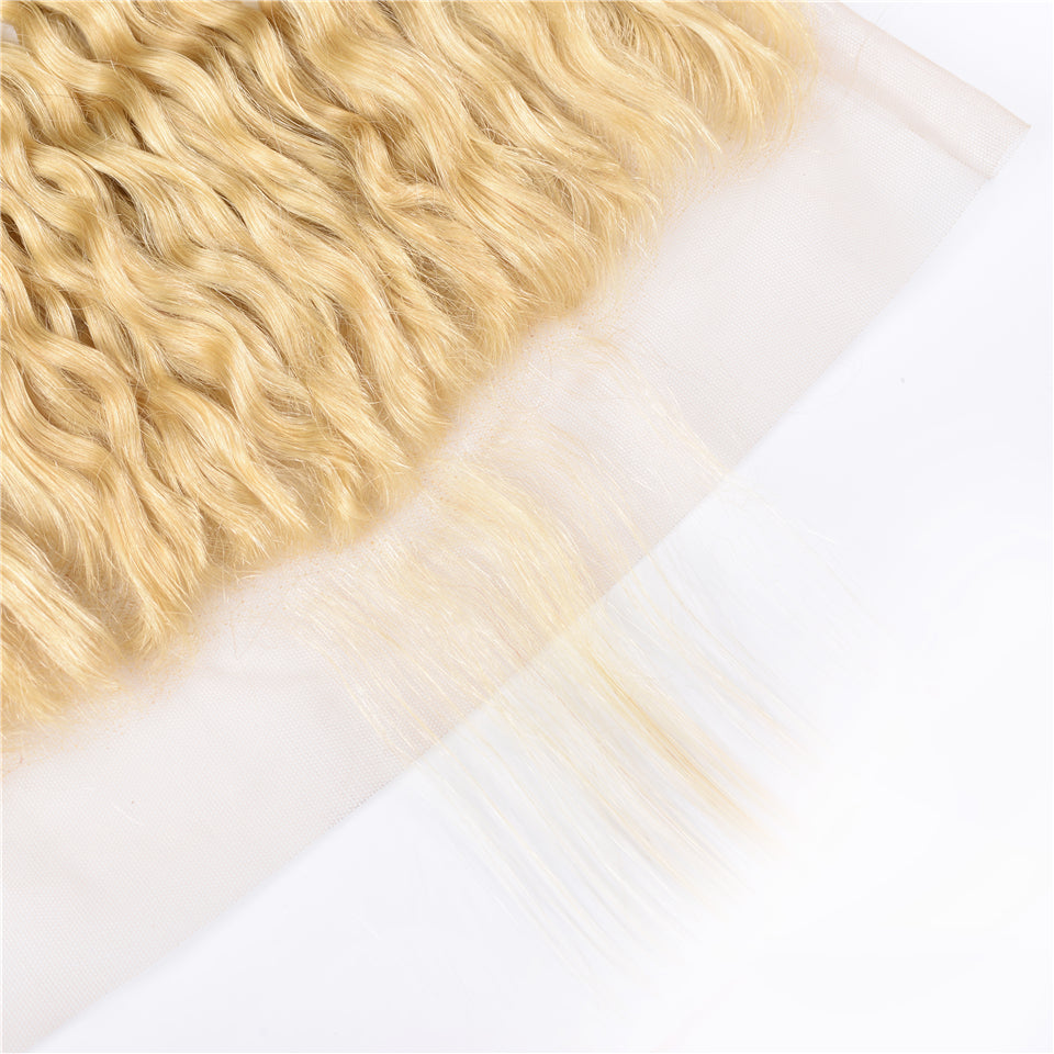 Beaufox Hair Virgin Human Hair 613 Blonde Hair Water Wave 13*4 Lace Frontal